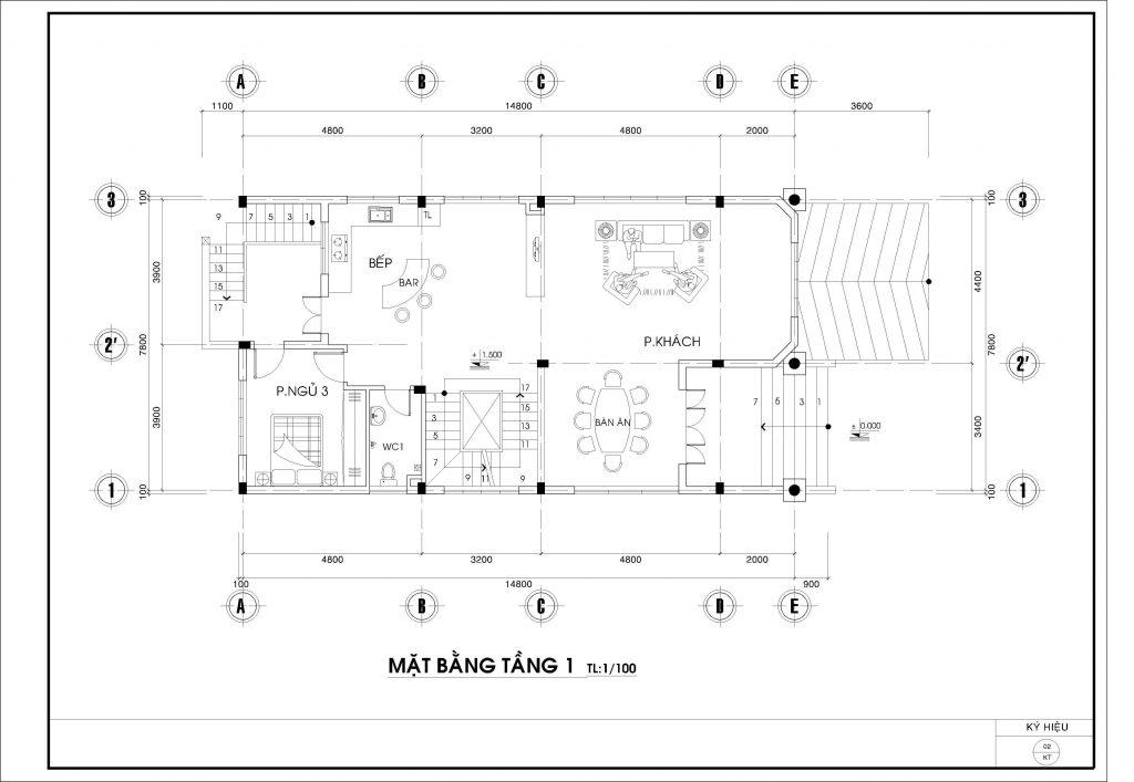 Nhà biệt thự 3 tầng 14.8x7.8m