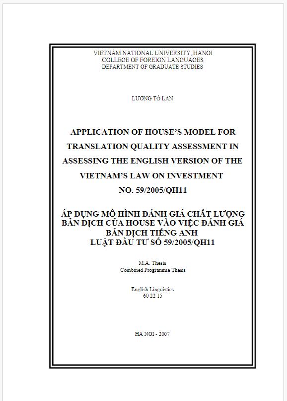 Áp dụng mô hình đánh giá chất lượng bản dịch của House vào việc đánh giá vào việc đánh giá bản dịch tiếng anh vào luật đầu tư số 59/2005/QH11