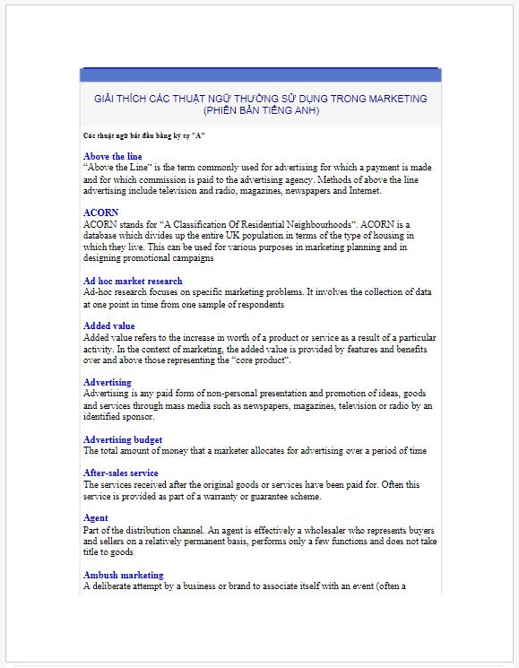 Các thuật ngữ thường được sử dụng trong Marketing phiên bản tiếng anh
