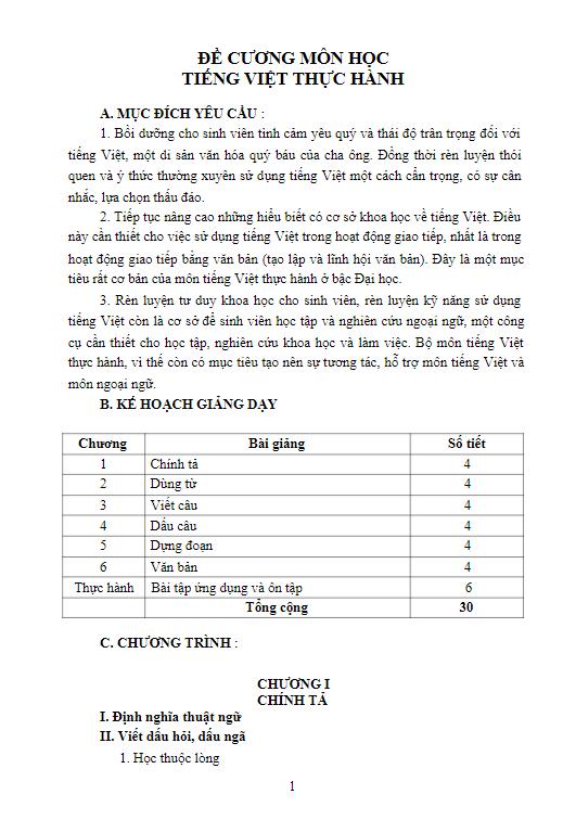Đề cương môn học Tiếng Việt thực hành