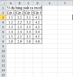 Lisp xuất bảng từ cad sang excel