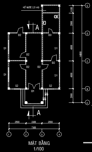 Bản vẽ nhà cấp 4 (7x14m)